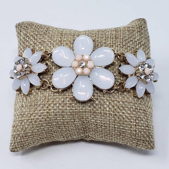 Talbots Gold Tone Rhinestone Flower Bracelet